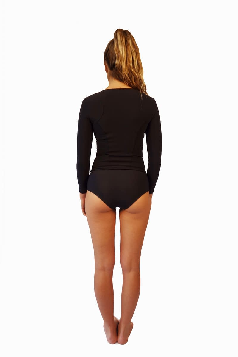Womens black long sleeve rash guard with high waist bikini bottoms